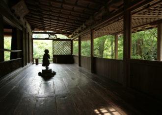 高山寺石水院 廂の間 蟇股の陰が緑に浮かぶ