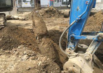 地中埋設の既存杭抜き工事