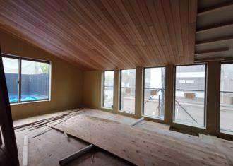 R19沿いの家 吹き抜け部の木天井